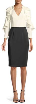 David Meister Tuxedo Ruffle-Sleeve Cocktail Dress