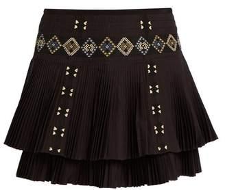 Vanessa Bruno Fabio Embroidered Pleated Cotton Skirt - Womens - Black
