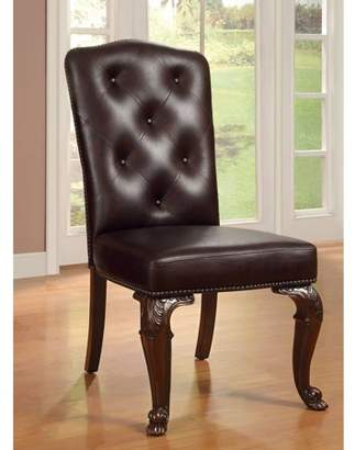Furniture of America Regulus Button Tufted Leatherette Dining Chair, Brown Cherry, 2pk