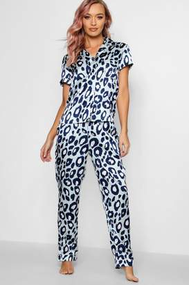 boohoo Aqua Leopard Button PJ Trouser Set