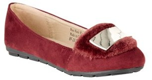 Victoria K Women's Soft Textured Material With Faux Fur Ornament And Gold Tip Bow Ballerina Flats