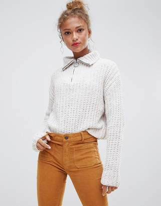 Pull&Bear Zip Front Popcorn Sweater