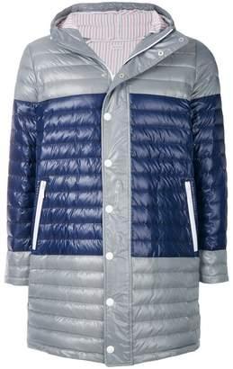 Thom Browne Bicolour Down-Filled Satin Coat
