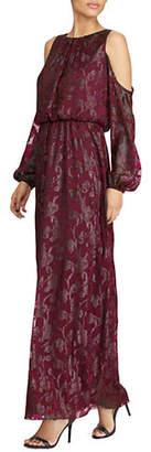 Lauren Ralph Lauren Burnout Cutout Shoulder Gown