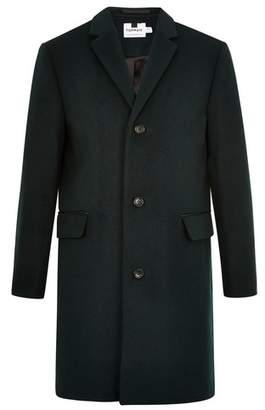 Topman Mens Forest Green Overcoat With Wool