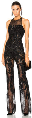 Zuhair Murad Embellished Lace Sleeveless Jumpsuit