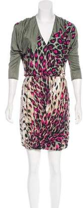 Tibi Draped Leopard Print Dress