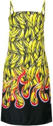Prada banana flame print midi dress