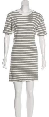 White + Warren Striped Short Sleeve Dress