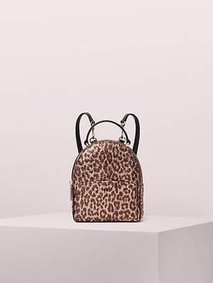 Kate Spade Amelia Metallic Leopard Mini Convertible Backpack, Rose Gold