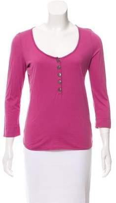 Burberry Nova-Accented Scoop Neck T-Shirt