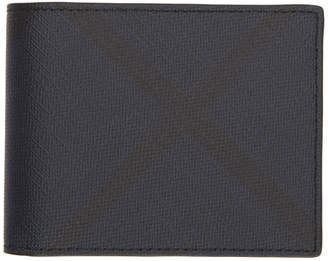 Burberry Navy and Black London Check Hipfold Wallet