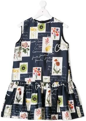 Oscar de la Renta Kids flowers and scribble printed dress