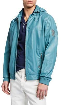 Stefano Ricci Men's Hooded Leather Zip-Front Jacket