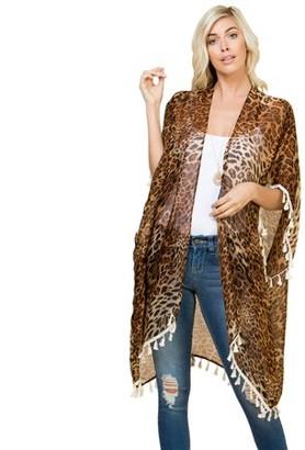 Riah Fashion Leopard Tassel Cardigan