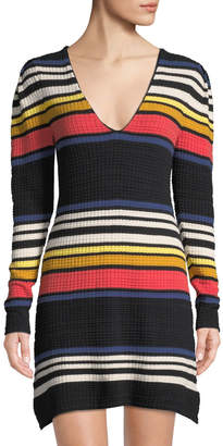 Free People Striped V-Neck Waffle-Knit Dress