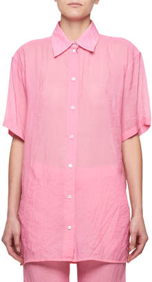 Victoria Beckham Short-Sleeve Button-Front Tech Muslin Shirt