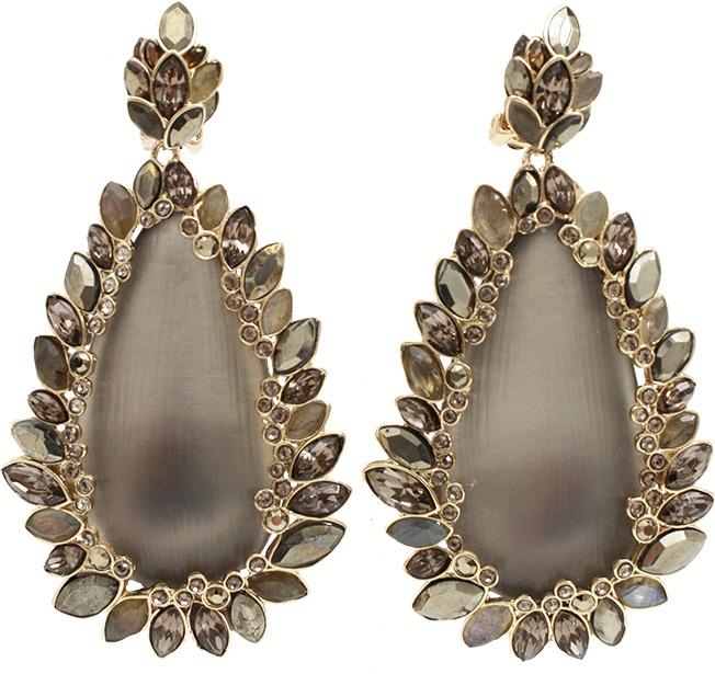 Alexis Bittar Grey Paisley Drop Clip Earrings