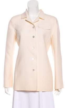 Oscar de la Renta Long Sleeve Button-Up Blazer