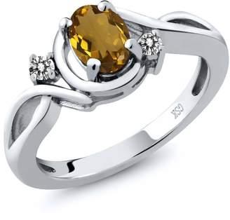 Gem Stone King 0.77 Ct Oval Whiskey Quartz White Diamond 925 Sterling Silver Ring
