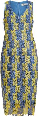 Diane von Furstenberg Bi-colour lace midi dress