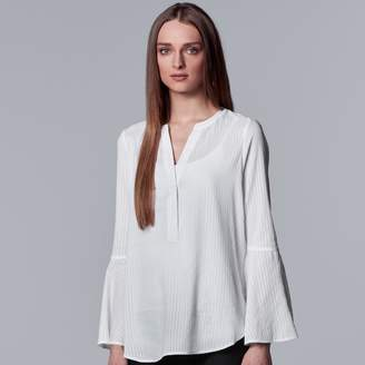 Vera Wang Women's Simply Vera Shadow-Stripe Bell Sleeve Top