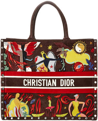 Christian Dior Embroidered Suede Book Tote