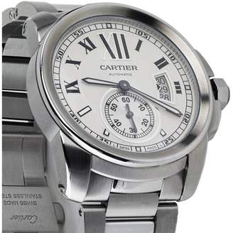 Cartier Calibre de Silver Dial Stainless Steel Automatic Skeleton Men's Watch