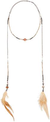 Nakamol Crystal Lariat Feather Necklace, Orange