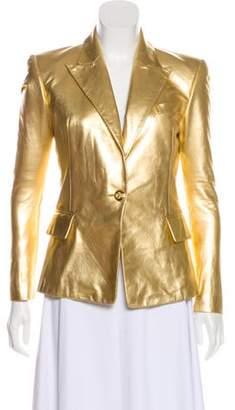 Balmain Leather Metallic Blazer Gold Leather Metallic Blazer