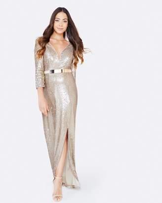 Little Mistress Sequin Maxi Dress With Belt