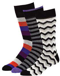 Neiman Marcus Men's Fancy Mid-Calf Socks, Set of 3