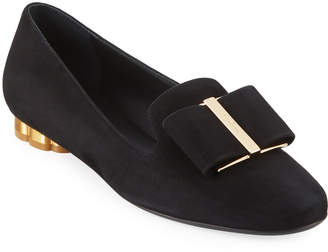Salvatore Ferragamo Suede Loafer with Oversized Bow