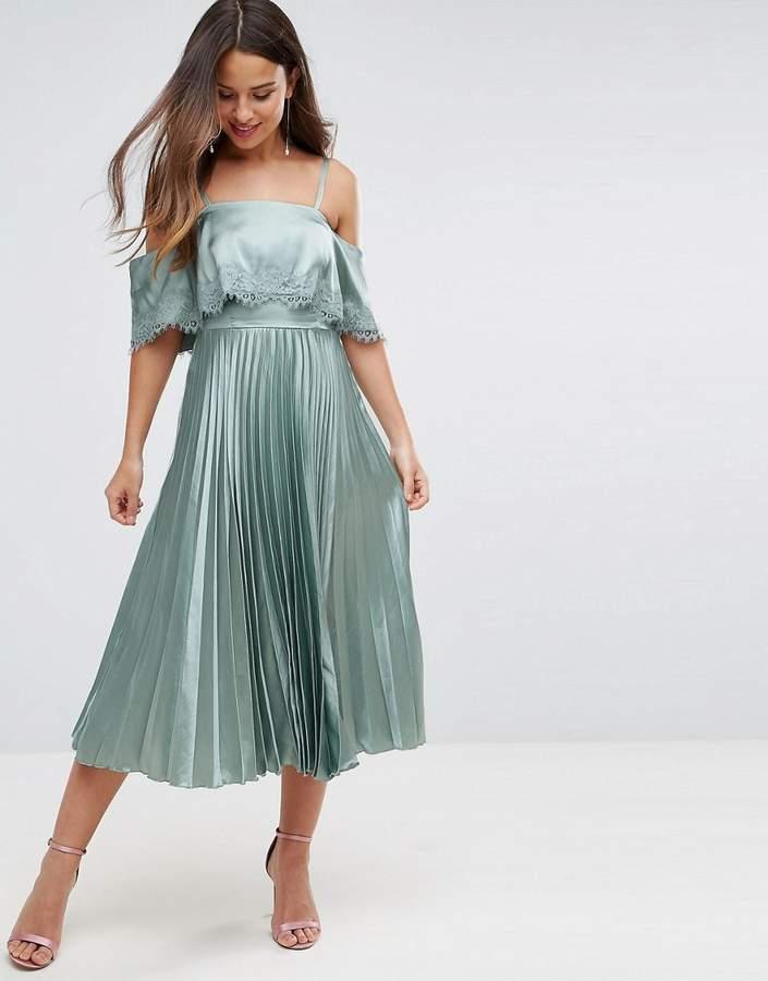 AsosASOS Satin Pleated Cami Lace Trim Crop Top Midi Dress