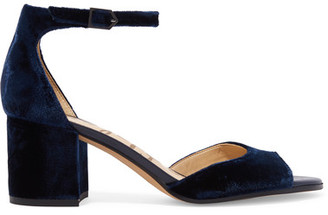 Sam Edelman - Susie Velvet Sandals - Midnight blue $120 thestylecure.com