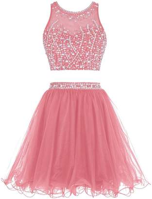 Nina Tulle Two Pieces Keyhole Beading Sash Prom Homecoming Dress
