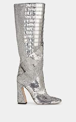 Alberta Ferretti Women's Sequined Satin Knee Boots - Silver