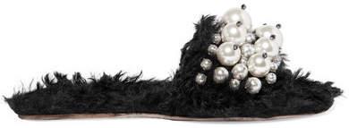 Miu Miu - Embellished Faux Shearling Slides - Black