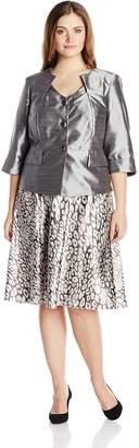 Dana Kay Women's Plus-Size Satin Animal Print Skirt Set Fit and Flare