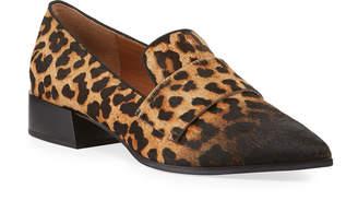 Franco Sarto Nebby Leopard Calf-Hair Loafers
