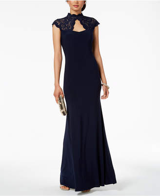 Betsy & Adam B & A by Glitter Lace Mock-Neck Gown