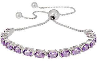 QVC Oval Gemstone Sterling Adjustable Bracelet4.50 cttw