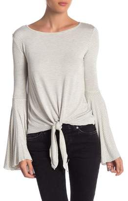 Elan International Bell Sleeve Tie Front Top