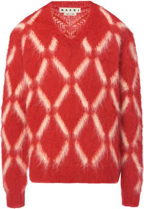 Marni Patterned V-Neck Mohair Sweater