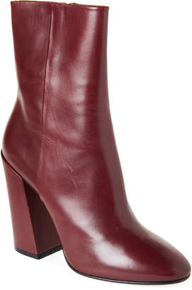 Dries Van Noten Burgundy Block Heel Ankle Boots