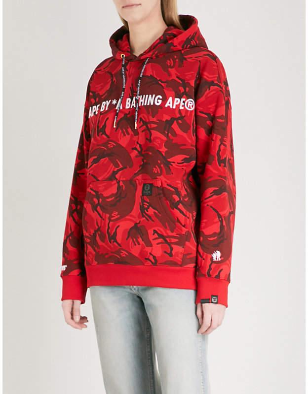 Aape Metallic logo-embroidered cotton-blend hoody