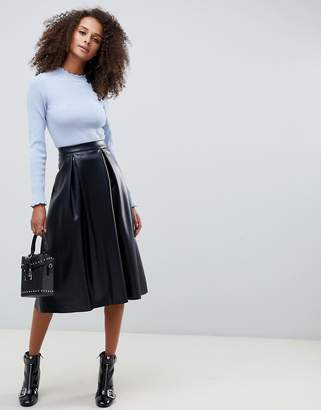 Asos DESIGN leather look full midi skirt with box pleats