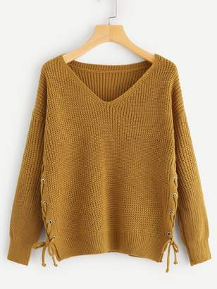 Shein Solid Lace Up V-Neck Sweater
