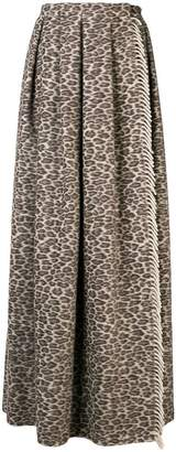 Max Mara pleated leopard print skirt