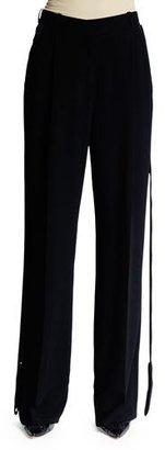 Givenchy Wide-Leg Trousers W/Flyaway Tuxedo Stripe, Black $1,490 thestylecure.com